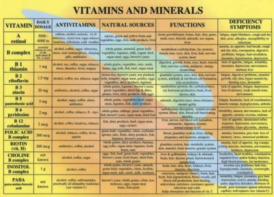 chart of vitamins: Vitamins minerals oh my living too large